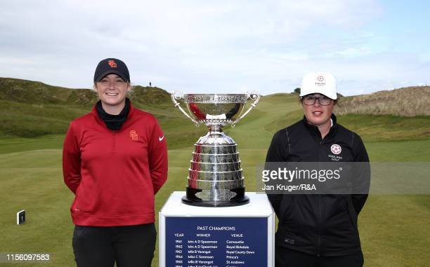 Amerlia Garvey of New Zealand and Emily Toy of England pose ahead of the final match on day five of the RA Womens Amateur Championship at Royal...