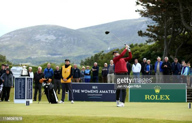 Amerlia Garvey of New Zealand tees during the final match on day five of the RA Womens Amateur Championship at Royal County Down Golf Club on June 15...