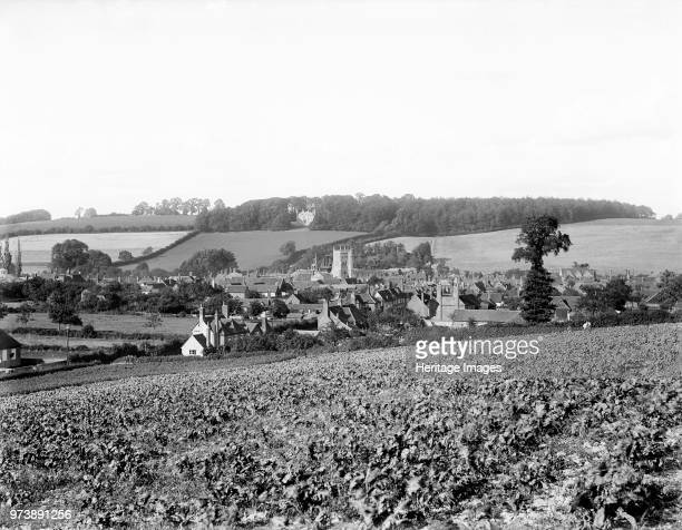Amersham Buckinghamshire circa 1860circa 1922 A view of the town lying in the valley of the Misbourne showing the tower of St Mary's Church In 1892...