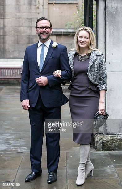 ames Murdoch and his wife Kathryn Hufschmid arrive for the wedding of Jerry Hall and Rupert Murdoch at St Brides Church on March 5 2016 in London...