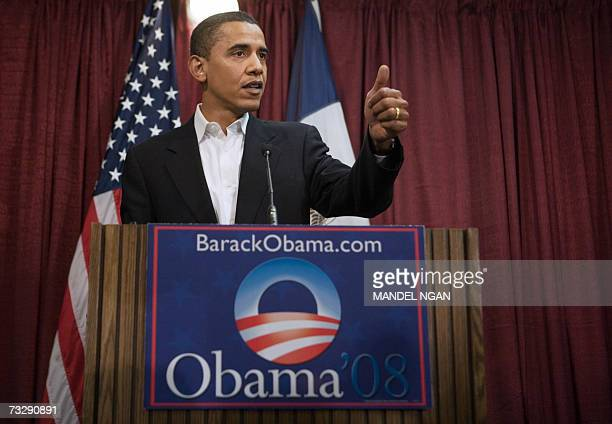 Presidential hopeful Senator Barack Obama DIL speaks during a press conference 11 February 2007 at the Hilton Coliseum of Iowa State University in...