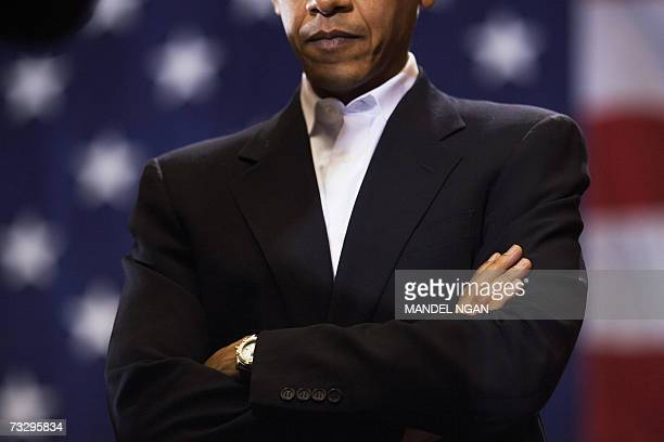 Presidential hopeful Senator Barack Obama DIL looks down while being introcuced at a rally 11 February 2007 at the Hilton Coliseum of Iowa State...