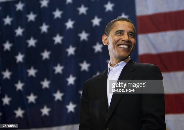 Presidential hopeful Senator Barack Obama DIL smiles while being introcuced at a rally 11 February 2007 at the Hilton Coliseum of Iowa State...