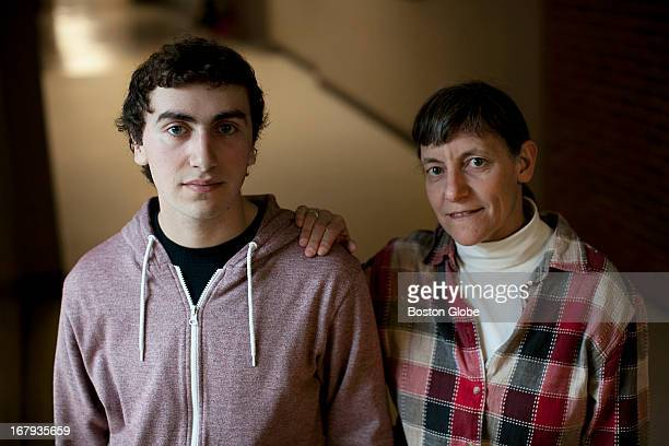 Amesbury High School senior Jonah Einson is photographed with his mother Brenda Rich at Amesbury High School in Amesbury Mass on Thursday April 11...
