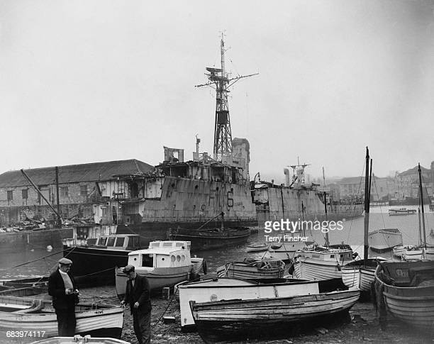 HMS Amethyst a Royal Navy Modified Black Swanclass sloop in the process of being scrapped at the Demellweek and Redding shipbreaking yard on 19...
