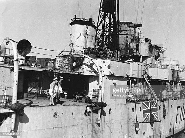 HMS Amethyst after action on the Yangtze River 20th April 1949