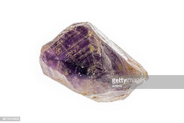 Amethyst specimen violet variety of quartz on white background