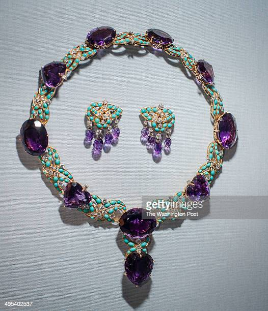 Amethyst turquoise diamonds platinum and gold necklace and earrings by Cartier on display at the museum Hillwood Estate and Museum Board President...