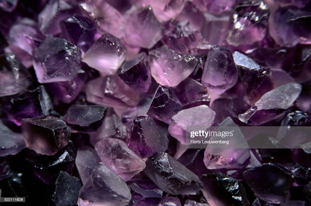 Amethysts Before Faceting and Polishing : Stock Photo