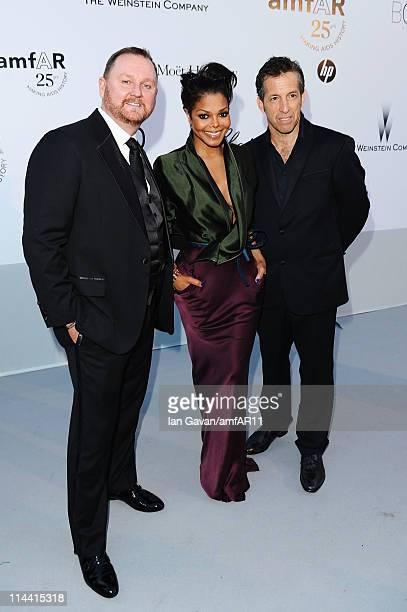 AmfAR CEO Kevin Frost, Janet Jackson and amfAR Chairman Kenneth Cole attend amfAR's Cinema Against AIDS Gala during the 64th Annual Cannes Film...