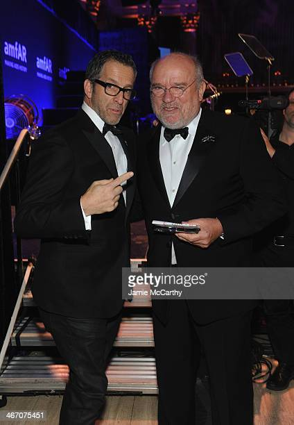 amfAR Chairman Kenneth Cole and Peter Lindbergh attends the 2014 amfAR New York Gala at Cipriani Wall Street on February 5 2014 in New York City