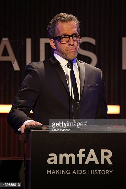 amfAR Chairman Kenneth Cole speaks onstage during the 2013 amfAR Inspiration Gala Los Angeles presented by MAC Viva Glam at Milk Studios on December...