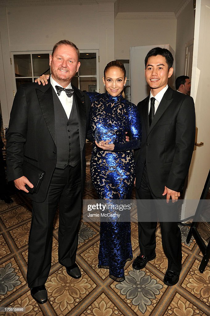 amfAR Chief Executive Officer Kevin Robert Frost, Jennifer Lopez and Nikom Wongtee attend the 4th Annual amfAR Inspiration Gala New York at The Plaza Hotel on June 13, 2013 in New York City.