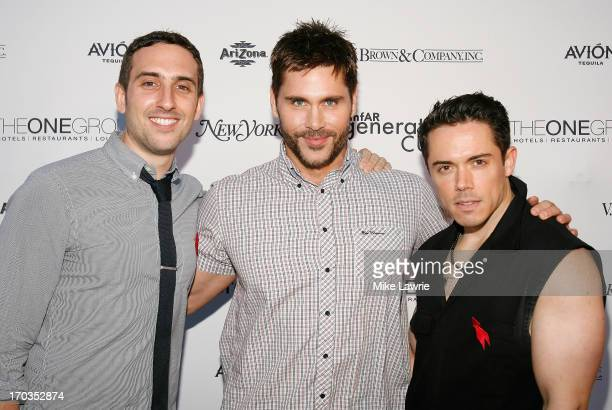 amfAR generationCURE committee members John Cafarelli and Dan Dias pose with designer Jack Mackenroth at the 2nd Annual generationCURE Solstice...