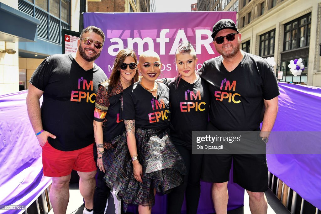 amfAR vice president of Development Eric Muscatell, Aileen Getty, Ongina, Kelly Osbourne, and amfAR CEO Kevin Frost ride the amfAR #BeEpicEndAIDS float during the 2017 New York City Pride March on June 25, 2017 in New York City.