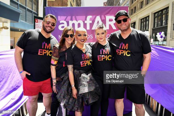 amfAR vice president of Development Eric Muscatell Aileen Getty Ongina Kelly Osbourne and amfAR CEO Kevin Frost ride the amfAR #BeEpicEndAIDS float...