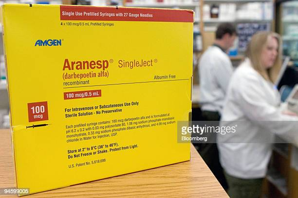 Amgen anemia drug Aranesp sits on display for an illustration at Skenderian Apothecary in Cambridge Massachusetts Thursday May 10 2007 Amgen Inc the...