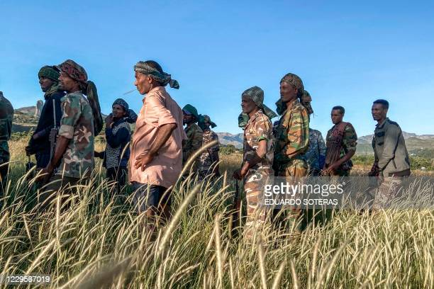TOPSHOT Amhara militia men that combat alongside federal and regional forces against northern region of Tigray receive training in the outskirts of...