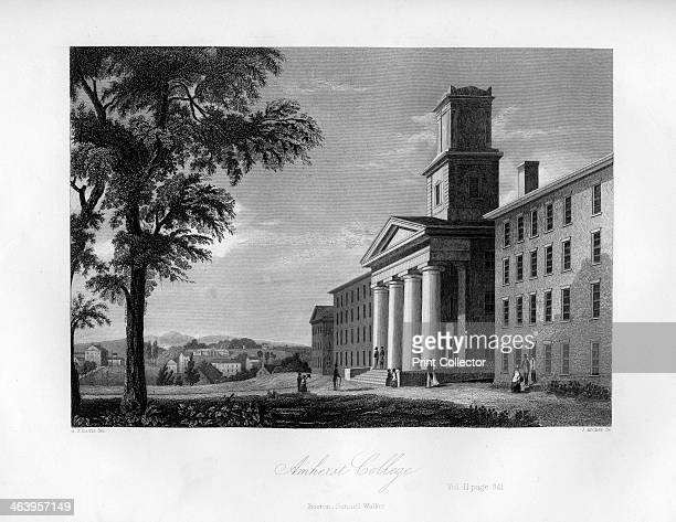 Amherst College Massachusetts 1855 Illustration from the History and Topography of the United States of North America Volume II by John Howard Hinton...