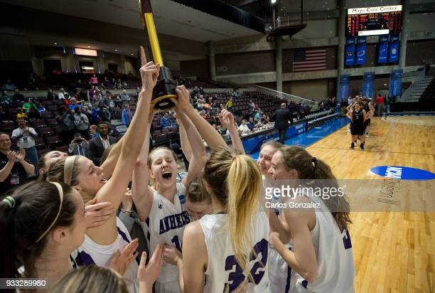 Amherst College players celebrated after winning the Division III Women's Basketball Championship held at the Mayo Civic Center on March 17 2018 in...