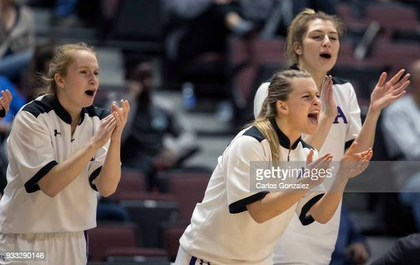 Amherst College players cheered on teammates during the Division III Women's Basketball Championship held at the Mayo Civic Center on March 17 2018...