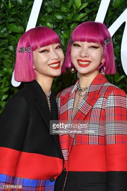 Ami and Aya Suzuki arrive at The Fashion Awards 2019 held at Royal Albert Hall on December 02 2019 in London England