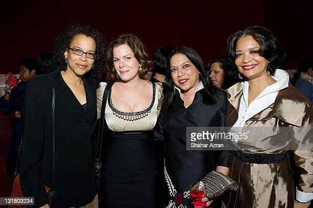 Ami Brabson Marcia Gay Harden Mira Nair and President and CEO Apollo Theater Foundation Jonelle Procope at the Dining with the Divas at The Apollo...