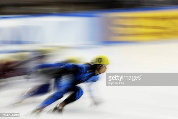 Ami Hirai competes in the Ladies' 1000m Heat during day two of the 40th All Japan Short Track Speed Skating Championships at Nippon Gaishi Arena on...