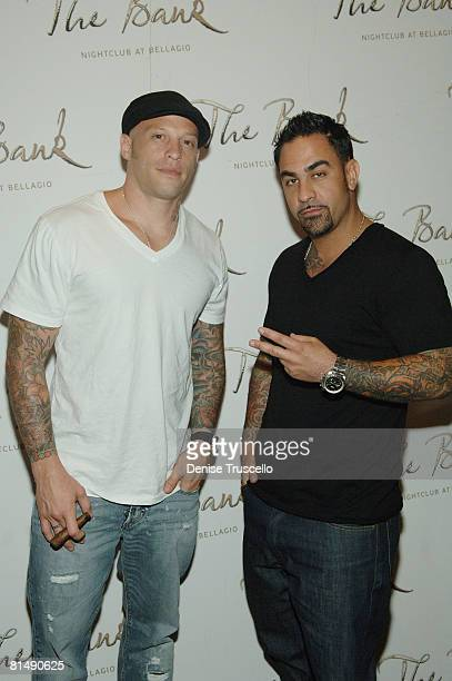 Ami James and Chris Gomez arrive at Danny A's birthday celebration at The Bank Nightclub at Bellagio Hotel and Casino Resort on June 7 2008 in Las...