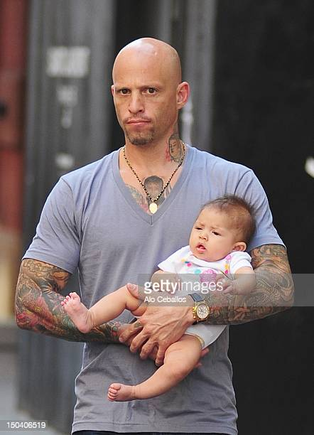 Ami James and daughter are seen in Soho on August 16 2012 in New York City