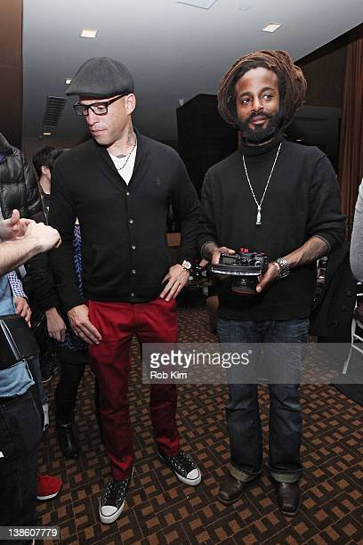 Ami James and John Forte visit The Ami James Ink Tattoo PopUp Shop at the Empire Hotel on February 9 2012 in New York City