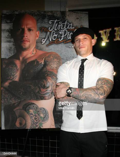 Ami James of the TV show Miami Ink unveils his Peta ad at his bar Love Hate January 24 2008 in Miami Beach Florida