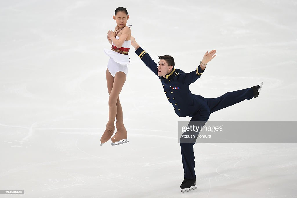 Ami Koga and Francis Boudreau Audet of Japan compete in the Junior Pairs Short Program during the 83rd All Japan Figure Skating Championships at Big Hat on December 26, 2014 in Nagano, Japan.