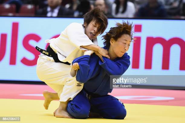 Ami Kondo of Japan competes against Urantsetseg Munkhbat of Mongolia in the Women's 48kg Final during day one of the Judo Grand Slam Tokyo at Tokyo...