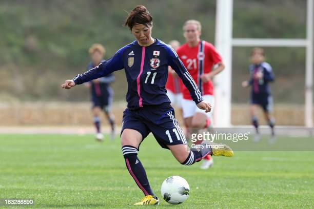 Ami Otaki of Japan in action during the Algarve Cup match between Japan and Norway at the Complexo Desportivo Belavista on March 6 2013 in Parchal...