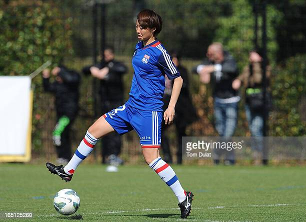 Ami Otaki of Olympic Lyonnais in action during the Championnat de France D1 Feminine match between Montpellier HSC and Olympic Lyonnais at Stade de...