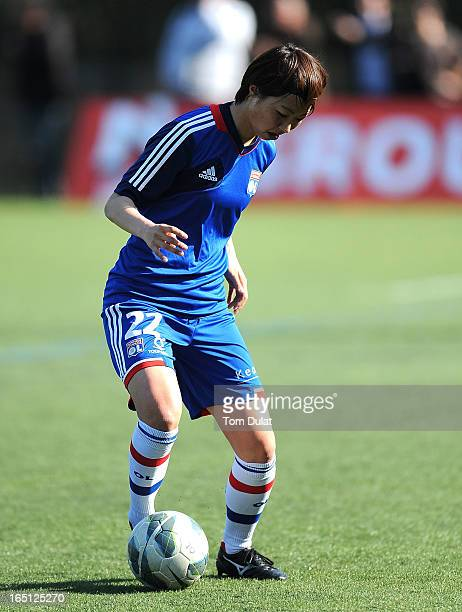 Ami Otaki of Olympic Lyonnais in action prior to the Championnat de France D1 Feminine match between Montpellier HSC and Olympic Lyonnais at Stade de...
