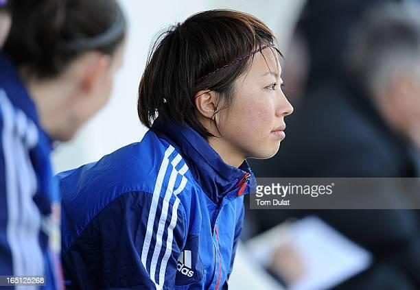 Ami Otaki of Olympic Lyonnais looks on the Championnat de France D1 Feminine match between Montpellier HSC and Olympic Lyonnais at Stade de la Mosson...