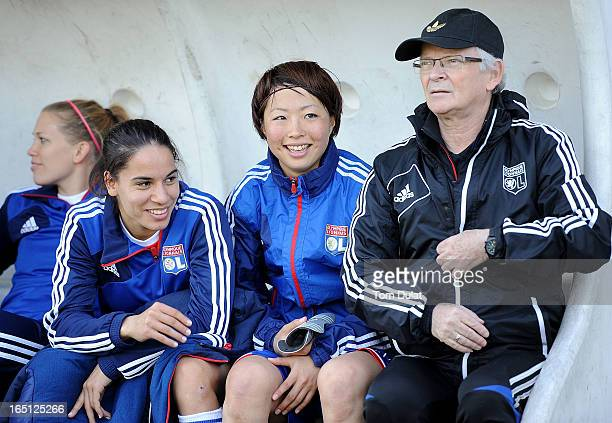 Ami Otaki of Olympic Lyonnais smiles during the Championnat de France D1 Feminine match between Montpellier HSC and Olympic Lyonnais at Stade de la...
