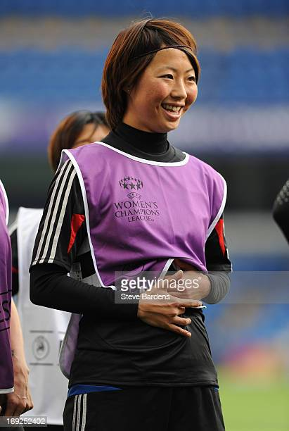 Ami Otaki of Olympique Lyonnais during a training session ahead of the UEFA Women's Champions League Final at Stamford Bridge on May 22 2013 in...