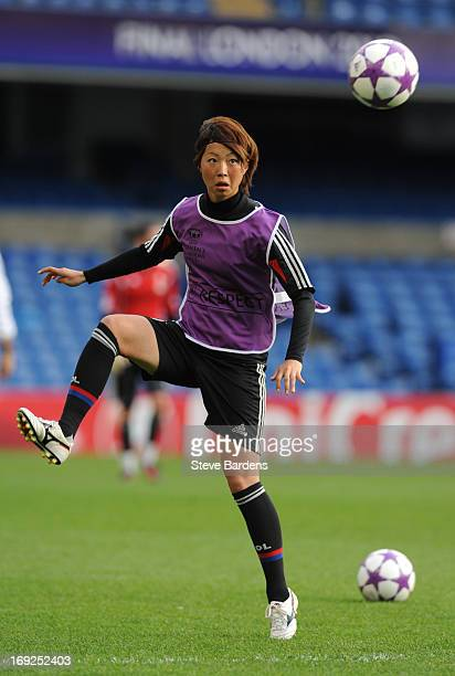 Ami Otaki of Olympique Lyonnais in action during a training session ahead of the UEFA Women's Champions League Final at Stamford Bridge on May 22...