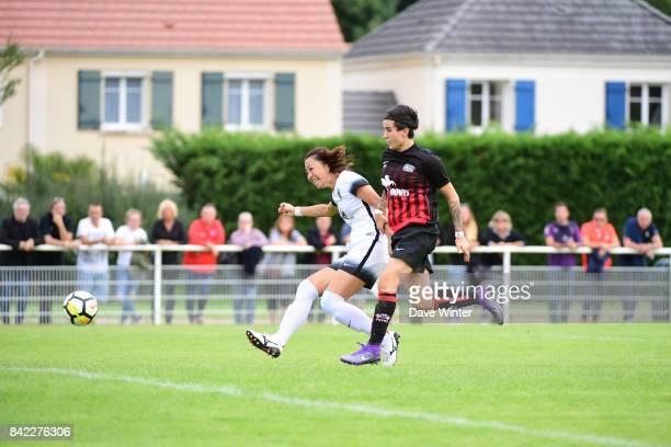 Ami Otaki of Paris FC and Leonie Multari of FC Fleury 91 during women's Division 1 match between FC Fleury 91 and Paris FC on September 3 2017 in...