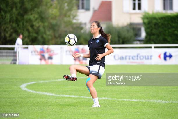 Ami Otaki of Paris FC warms up before the women's Division 1 match between FC Fleury 91 and Paris FC on September 3 2017 in Fleury Merogis France