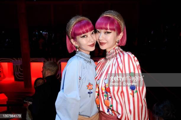 Ami Suzuki and Aya Suzuki attend the Prada show during Milan Fashion Week Fall/Winter 2020/2021 on February 20, 2020 in Milan, Italy.