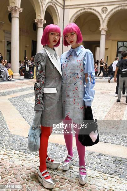 Ami Suzuki and Aya Suzuki attend the Vivetta show during Milan Fashion Week Spring/Summer 2019 on September 20, 2018 in Milan, Italy.