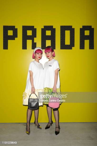 Ami Suzuki and Aya Suzuki attends the Prada Show during Milan Fashion Week Fall/Winter 2019/20 on February 21, 2019 in Milan, Italy.