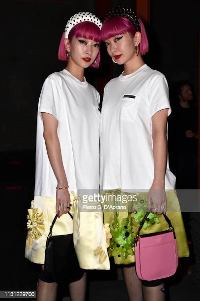 Ami Suzuki and Aya Suzuki attends the Prada Show during Milan Fashion Week Fall/Winter 2019/20 on February 21, 2019 in Milan, Italy.