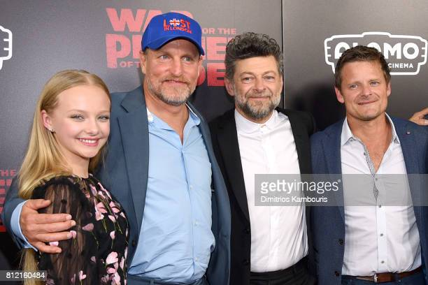 """Amia Miller Woody Harrelson, Andy Serkis and Steve Zahn attend the """"War For The Planet Of The Apes"""" New York Premiere at SVA Theater on July 10, 2017..."""
