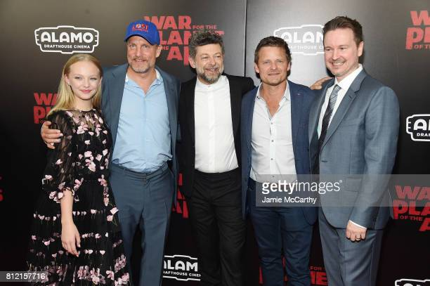"""Amiah Miller, Woody Harrelson, Andy Serkis, Steve Zahn and Matt Reeves attend """"War for the Planet Of The Apes"""" premiere at SVA Theater on July 10,..."""