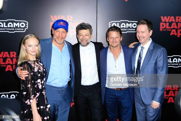 """Amiah Miller, Woody Harrelson, Andy Serkis, Steve Zahn and Matt Reeves attends the """"War For The Planet Of The Apes"""" New York Premiere at SVA Theatre..."""